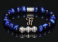 Tigerauge blau Armband Bracelet Perlenarmband Silber Beads 8mm