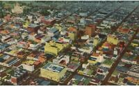 Vintage Linen Postcard Aerial View Downtown San Diego CA California City