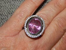 KUNZITE COLOUR QUARTZ & NATURAL CAMBODIAN ZIRCON LARGE RING-SIZE O-10.250 CARATS