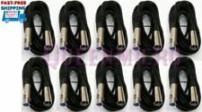 10 x 15FT XLR 3Pin Male-Female Mic Microphone Audio Balanced Cord Shielded Cable