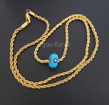 Cadena con azules Nazat perla 22 quilates dorado kolye Mavi tas altin kaplama 60cm