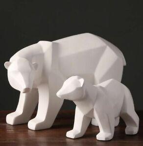 White Polar Bears Sculpture Ornaments Modern Home Decor Abstract Geometric