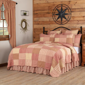 VHC Brands Farmhouse Luxury King Quilt Red Patchwork Sawyer Mill Bedroom Decor