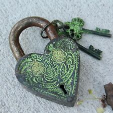 Antique Padlock Old Green Patina Vintage Heavy lock and Key, flowers engraving