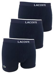 LACOSTE Men's 100% Authentic Cotton Stretch Trunks Boxer Shorts 3 Pack Navy