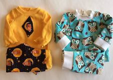 "Handmade 18"" Doll Pajamas Owl 2 Pairs Fits American Girl Blue White Navy Yellow"