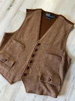 Polo Ralph Lauren 100% Cashmere Waistcoat Vest Size XL Brown Wood Buttons RRL