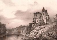 Lithographie XIXe vue du Château de la Sône Isère 1835