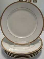 """5 Thomas by Rosenthal DINNER PLATES 9.8"""" Gold Flower Encrusted Rim Ivory China"""
