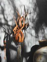 Edelrost Stab Feuerblume Fiamma Blüte Windlicht Garten Dekoration Terrasse Beet