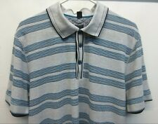 Hugo Boss Varese Gray Blue Striped Cotton Pique Polo Golf Shirt Slim Fit Sz 3XL