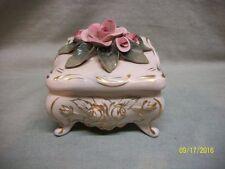 Vintage Ceramic Footed Pink Roses Gold Gilt Dresser / Trinket Box