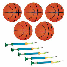 Lot de 5 Mini Ballons de BASKET BALL - 110mm + 5 pompes -  BALL110-LT5