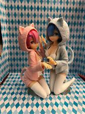 Re:Zero Rem & Ram Nyanko Mode Ichiban kuji Blue&Pink PVC Figure New Loose