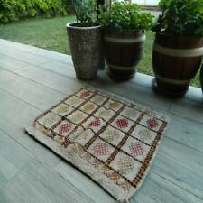 Vintage Anatolian Rustic Small Kilim 20x24 inch Handwoven Authentic Old Wool Rug