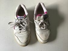 Reebok White Pink tennis Sports Training Shoes Size 4 37 Leather Uppers Trainers