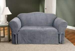 Sure Fit  Suede  BOX Cushion - LOVESEAT Slipcover - smoke blue