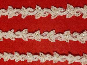 1 m Bordo di perle Perline Nastro Bordura Bianco DecorPearl borderBeads