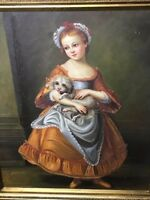 1 Fine Portrait Work Of Art Oil On Canvas Painting French Lady Cradling her Dog