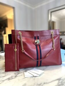 Auth GUCCI Large Raja GG Red Tiger Leather Logo Shoulder Tote bag New Rare