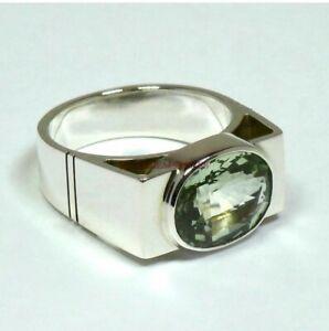 925 Sterling Silver Natural Green Amethyst Gemstone Ring for Men's EG43