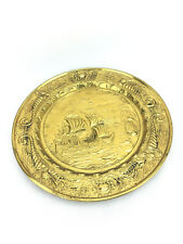 More details for rare vintage ship boat embossed brass wall plaque hanging made in england