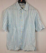 Tommy Bahama Academy Stripe Linen Shirt Yoga Blue Size M MSRP $98  (TB-6)