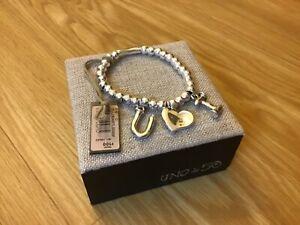 "NWT Uno de 50 Silver-plated Beaded Stretch Bracelet ""I Love You"""
