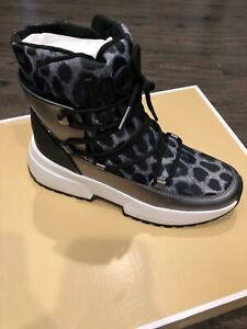 NIB $185 Michael Kors Cassia Gunmetal Cheetah Print Booties Sz 9M