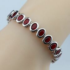 Women Bracelet 925 Sterling Silver Oval Red Garnet Bracelet Fashion Jewelry