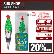 100% Genuine! Jolly Light-Up Glass Wine Bottle Stopper Christmas Tree!