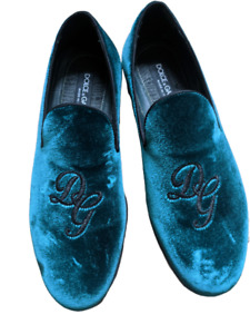 AUTHENTIC DOLCE & GABBANA GREEN VELVET LOAFERS MOCCASINS SHOES. UK 6 - EU 40