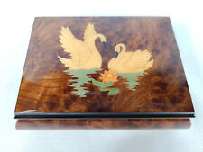 San Francisco Music Box Co. Jewelry Trinket Music Box Swans Inlay Made in Italy