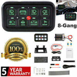 AUXBEAM 8 Gang On-off Control Switch System LED Button Panel Relay Green Light