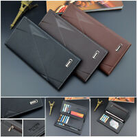 Men Business Faux Leather Wallet Bifold Long Credit Card Money Coin Holder Purse