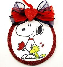 Hand Made Snoopy Woodstock Sharing Love glittered wood slice Valentine Ornament