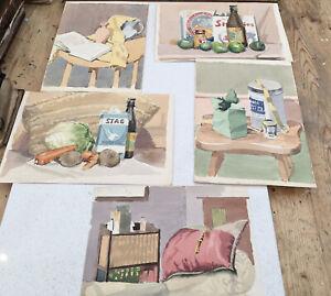 Five Original Vintage Watercolours, Still Life Studies, 1960s, Approx A4 Size