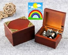 Wooden Vintage Square Hand Crank Music Box :  Somewhere Over the Rainbow