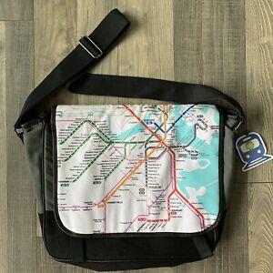 NWT Whole Foods Boston MBTA Map Messenger Bag Crossbody Black Gray SHIPS FREE!