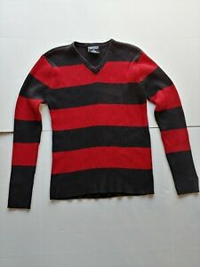 Red & Black Striped Large Pullover Polo Jeans Ralph Lauren 100% Cotton Sweater
