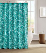 Kensie Aqua Teal White Decorative Modern Chic Fabric Shower Curtain