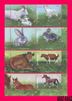 MOLDOVA 2019 Nature Fauna Farm Domestic Animals Goat Rabbit Cow Horse 4v+4 label