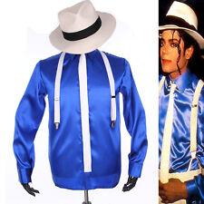 MJ Michael Jackson Smooth Criminal MTV Fedora Blue Shirt Tie Suspender Kids Gift