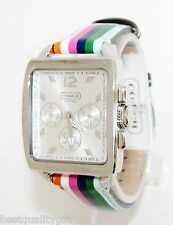 NEW-COACH MULTI COLOR STRIPE LEATHER BAND+SILVER TONE DIAL+CHRONO WATCH 14501531