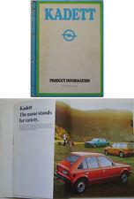 Opel KADETT D 1979 Reino Unido distribuidor sólo producto folleto de información L Gl Berlina Sr