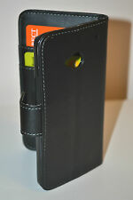 Black Leather Wallet Cash Card Flip Case Cover Stand for HTC One M7 801s