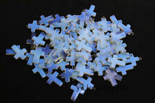 Wholesale Lots 10X Bulk Synthetic Opal Stone Cross Silver P Beads Pendants FREE