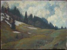 Oskar Angerer Art Nouveau Oil Painting 1923 Alps Snow Landscape Fir Antique