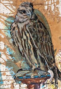 "LIZ ARMSTRONG ORIGINAL ""Saker Falcon Bird of Prey Qatar"" Falconry hawk PAINTING"
