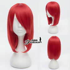 Angel Beats Yuri Nakamura 45CM Short Red Synthetic Anime Cosplay Full Hair Wig